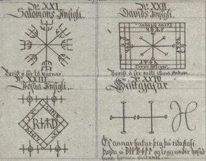 """Parte do """"Manuscrito de Huld"""", datado do século 18 e compilando cifras e sigilos de épocas anteriores. Nesta página, vemos não apenas uma versão islandesa do """"Selo de Salomão"""" como também selos de """"David"""" e """"Josué"""", misturando caracteres rúnicos e romanos."""